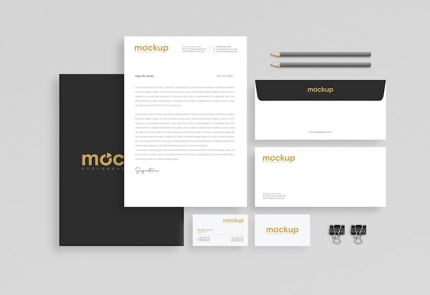 Projeto de maquete de papelaria comercial Psd Premium
