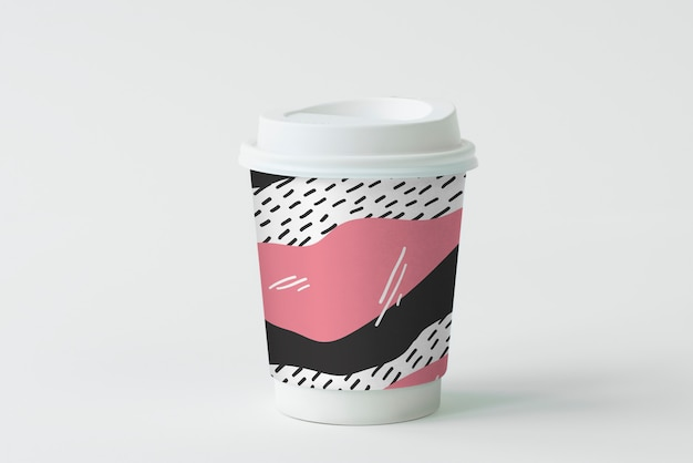 Projeto de maquete de xícara de café para viagem colorida Psd grátis