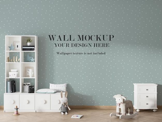 Projeto moderno de maquete de parede em sala renderizada em 3d Psd Premium