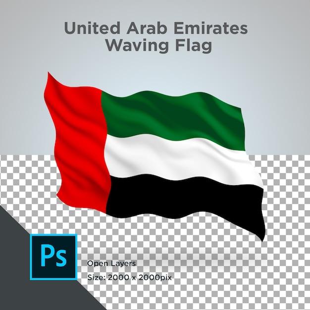 Projeto ondulado da bandeira dos emirados árabes unidos transparente Psd Premium