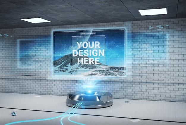 Projetor de outdoor futurista em maquete de estação de metro subterrâneo sujo Psd Premium