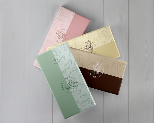 Projetos de embrulho de chocolate de papel Psd grátis