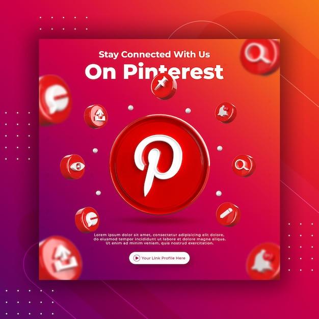 Promoção da página de negócios com 3d render pinterest para modelo de postagem do instagram Psd Premium