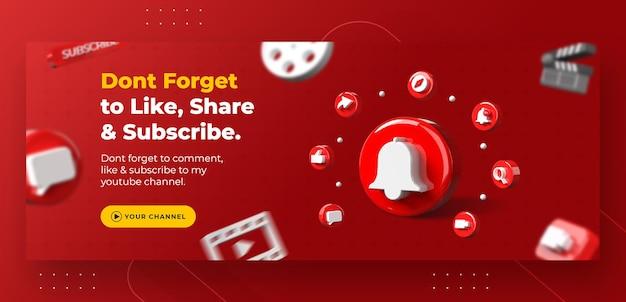 Promoção da página de negócios com notificação do youtube em 3d render para modelo de capa do facebook Psd Premium