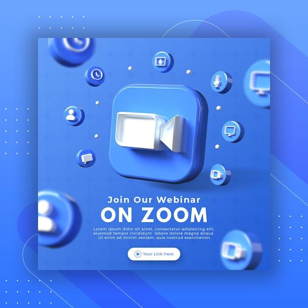 Promoção da página do webinar com logotipo de zoom de renderização 3d para modelo de postagem do instagram Psd Premium