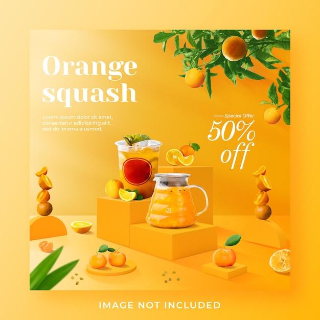 Promoção de menu de bebida laranja abóbora mídia social modelo de pós-banner do instagram Psd Premium