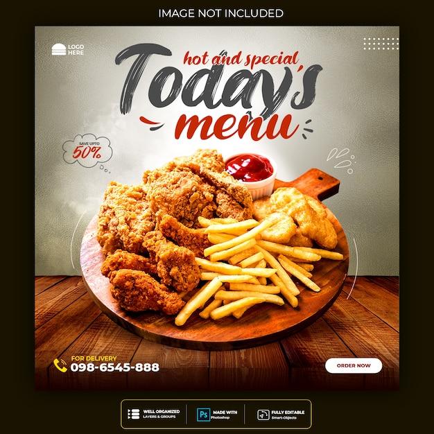 Promoção de mídia social de alimentos e design de postagem de banner instagram Psd grátis