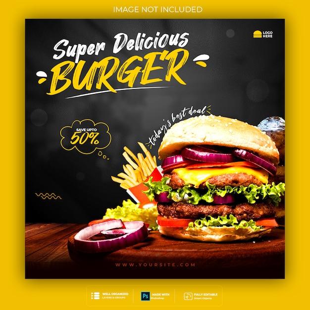Promoção de mídia social de alimentos e modelo de design de postagem de banner do instagram Psd Premium