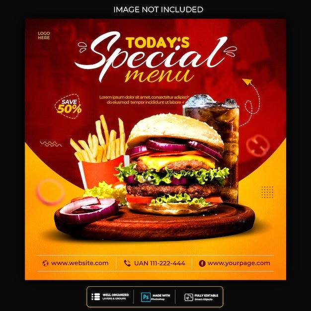 Promoção de mídia social de alimentos e modelo de design de postagem de banner do instagram Psd grátis
