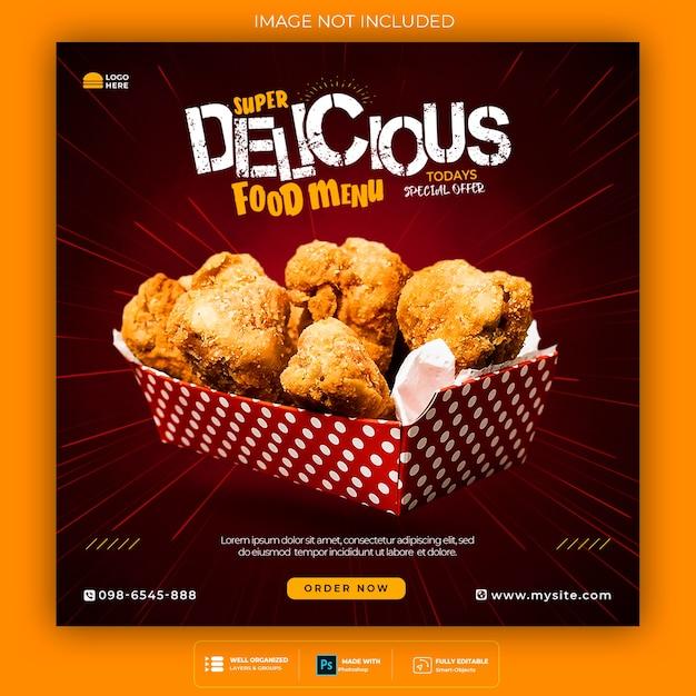 Promoção de mídia social de alimentos e modelo de design de postagem de banner instagram Psd grátis
