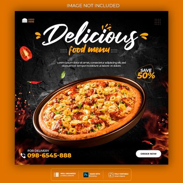 Promoção de mídia social de alimentos e modelo de design de postagem de banner Psd grátis