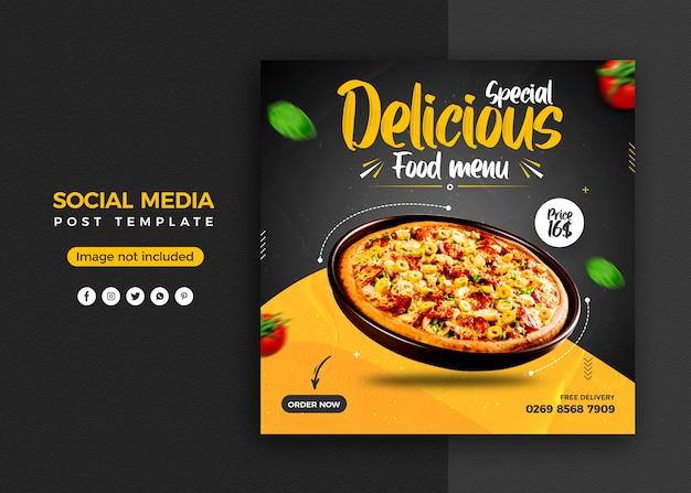 Promoção de mídia social de pizza e modelo de design de postagem de banner instagram Psd Premium