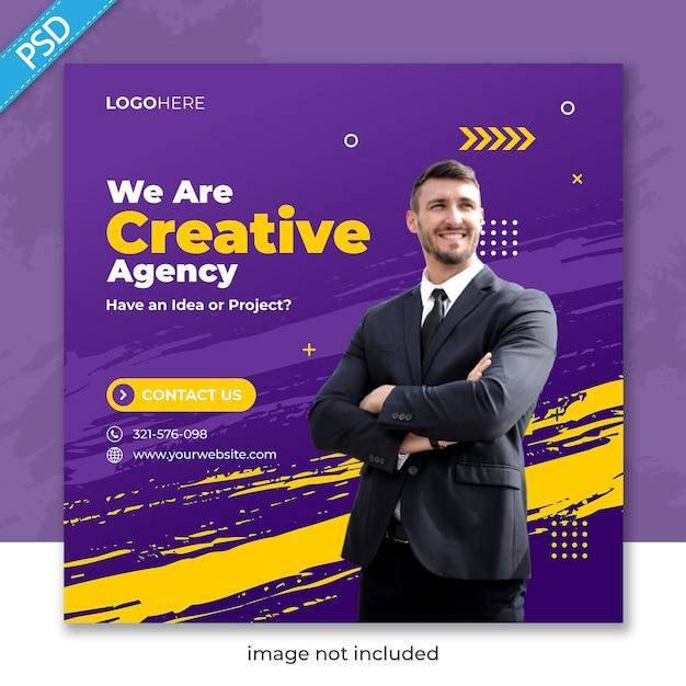 Promoção de negócios e corporativa para mídias sociais instagram post banner template Psd Premium