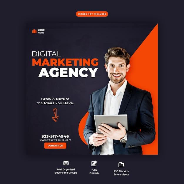 Promoção de negócios e modelo de banner de mídia social corporativa Psd grátis