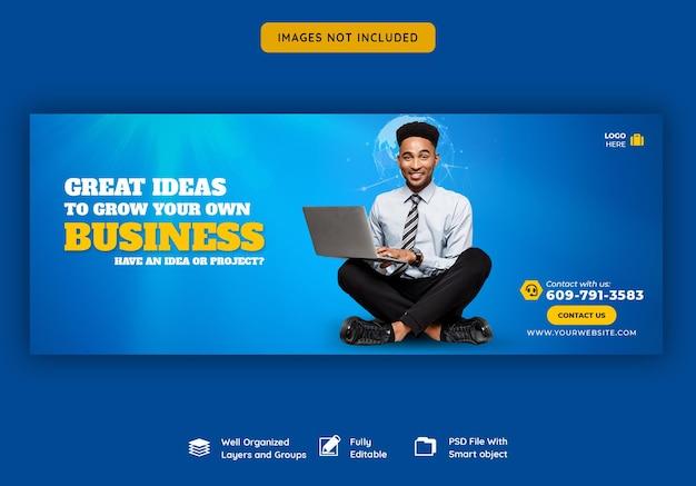 Promoção de negócios e modelo de capa do facebook corporativo Psd grátis