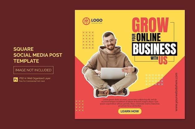 Promoção de negócios e postagem em mídia social corporativa ou modelo de banner quadrado Psd Premium