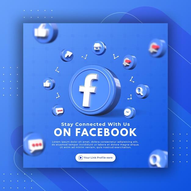 Promoção de página de negócios com 3d render facebook para modelo de postagem instagram Psd Premium