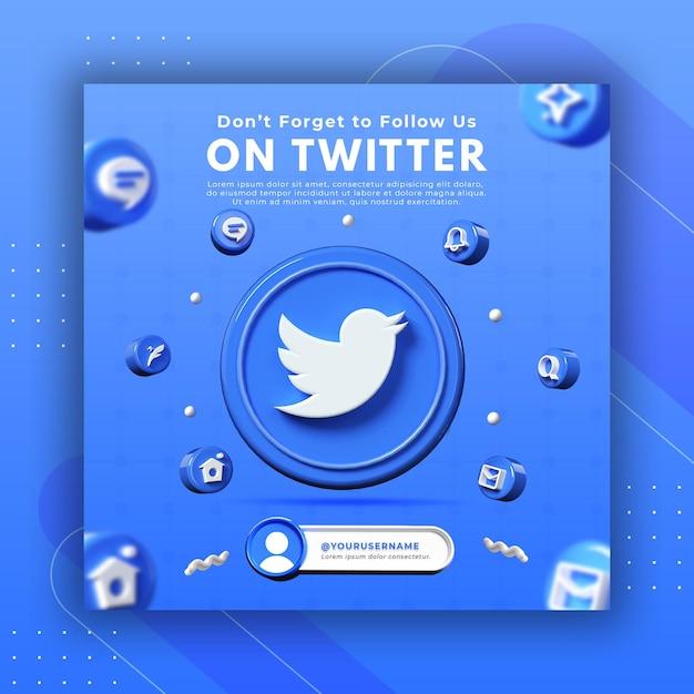 Promoção de página de negócios com renderização 3d twitter para modelo de postagem instagram Psd Premium
