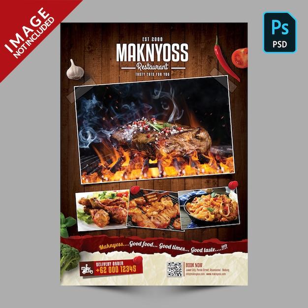 Promoção de panfleto de comida de restaurante Psd Premium