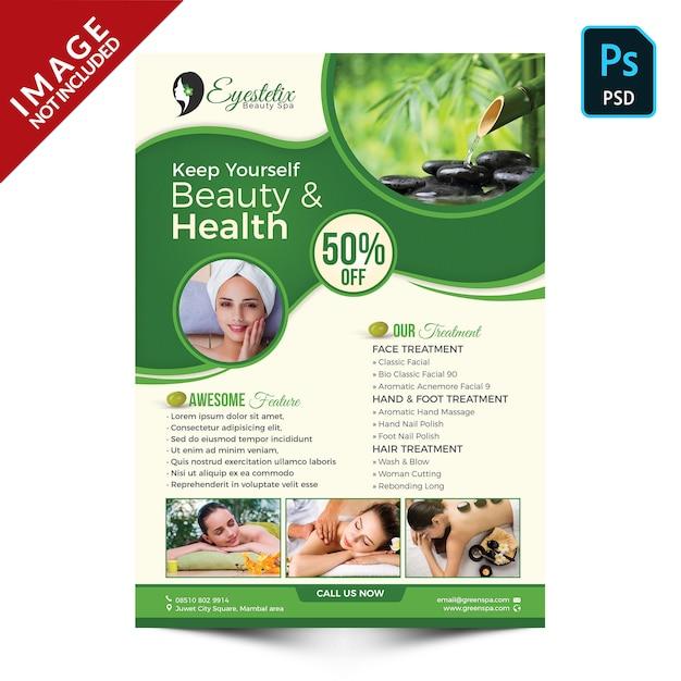 Promoção de produtos e pacotes de spa ecológico frente Psd Premium