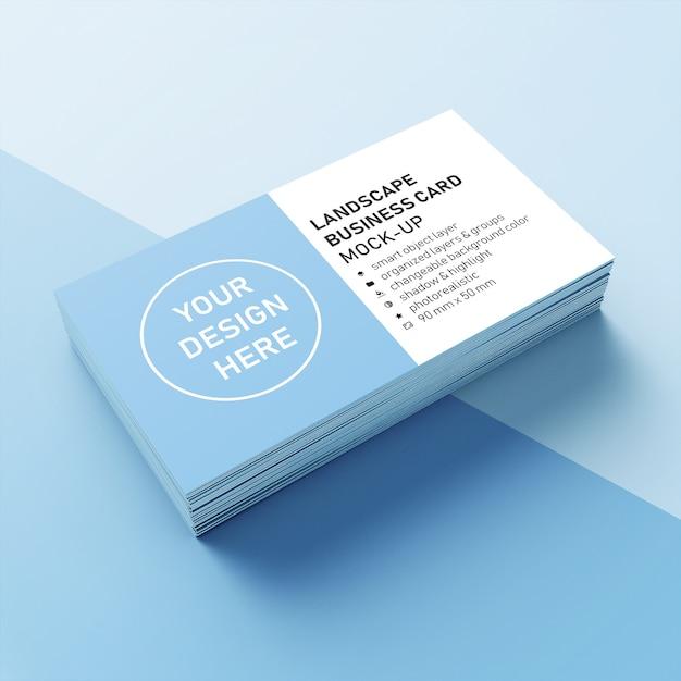 Pronto para usar a pilha realista de 90 x 50 mm paisagem cartão de visita com a sharp modelo de design de canto de mock-up na frente vista em perspectiva Psd Premium