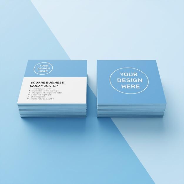 Pronto para usar duas pilhas de modelo de design de maquete realista quadrado na frente em perspectiva Psd Premium