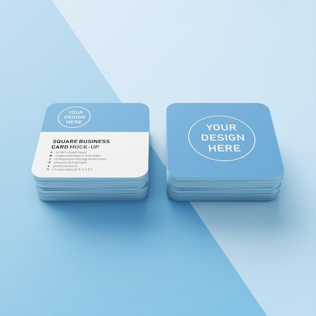 Pronto para uso premium quadrado dois cartão de visita empilhados com cantos arredondados mock ups modelos de projeto em frente exibição de perspectiva Psd Premium