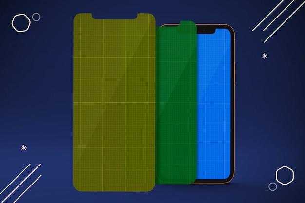 Protetores de tela de celular, maquete de smartphone Psd Premium