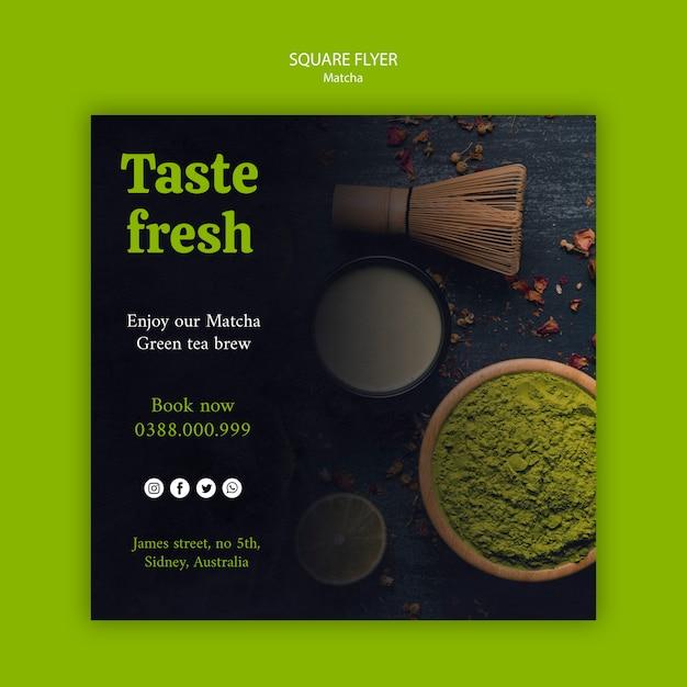 Prove o aroma fresco do chá matcha panfleto quadrado Psd grátis