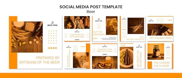 Publicação de mídia social de cerveja Psd grátis