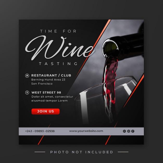 Publicação de mídia social de degustação de vinhos Psd Premium