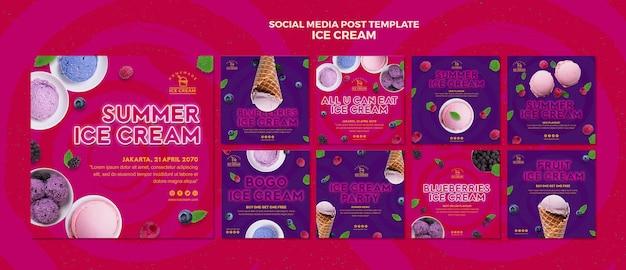 Publicação de mídia social de sorvete Psd grátis