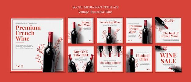 Publicações nas redes sociais do vinho francês Psd grátis