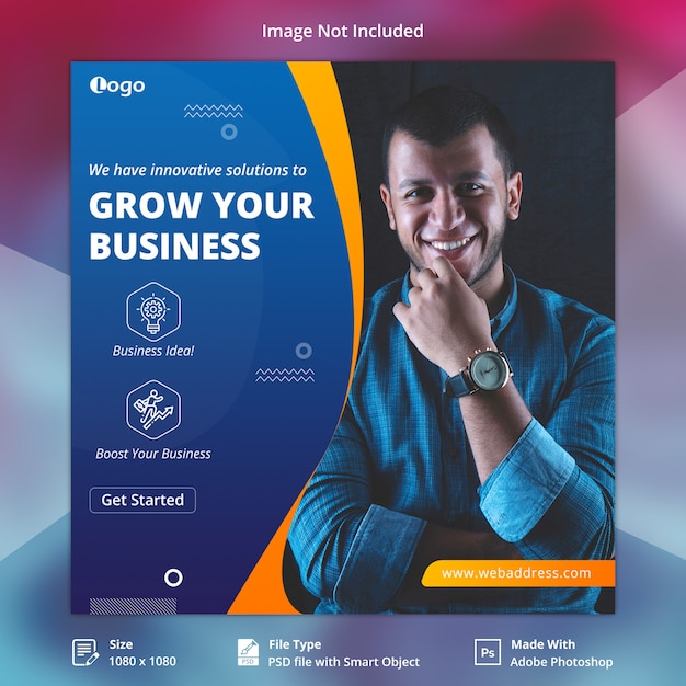 Quadrado corporativo do instagram banner template Psd Premium