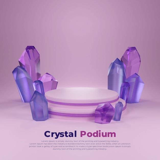Quadrado pódio 3d cristal roxo azul Psd Premium
