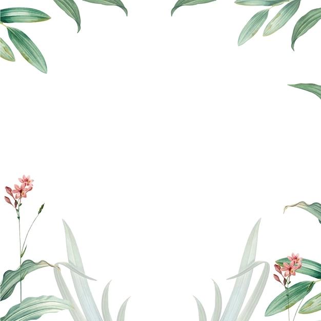 Quadro de design de folhas verdes Psd grátis