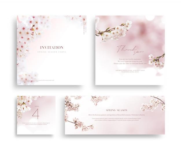 Quadro de flor linda primavera, convite, cartão de casamento, obrigado cumprimentando. Psd Premium