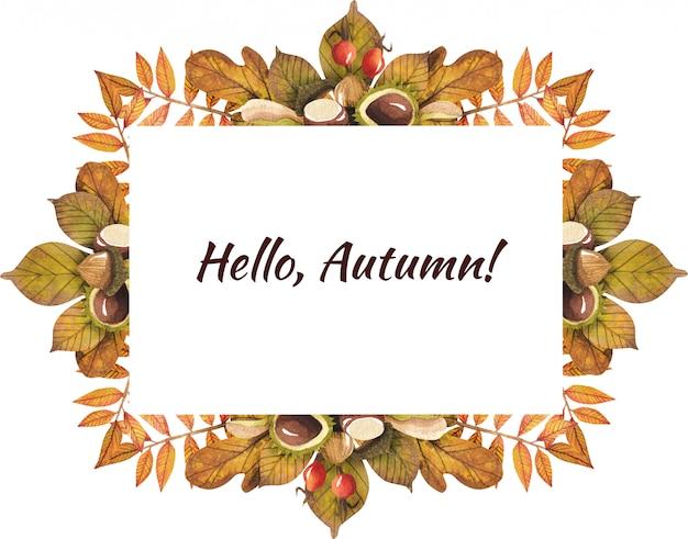 Quadro de folhas de outono pintado por aquarela Psd Premium