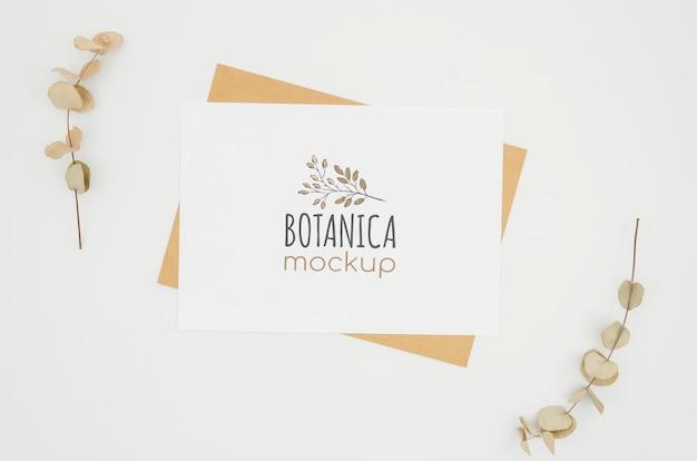 Quadro de folhas maquete botânica Psd grátis