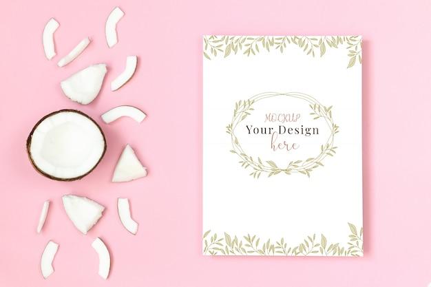 Quadro de maquete com coco em fundo rosa Psd Premium