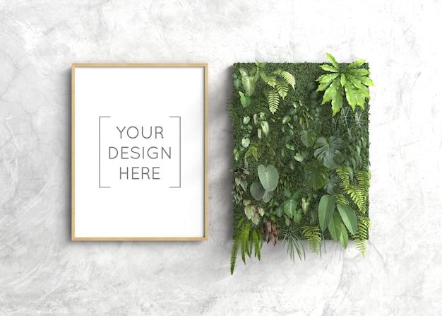 Quadro de maquete com jardim vertical Psd Premium