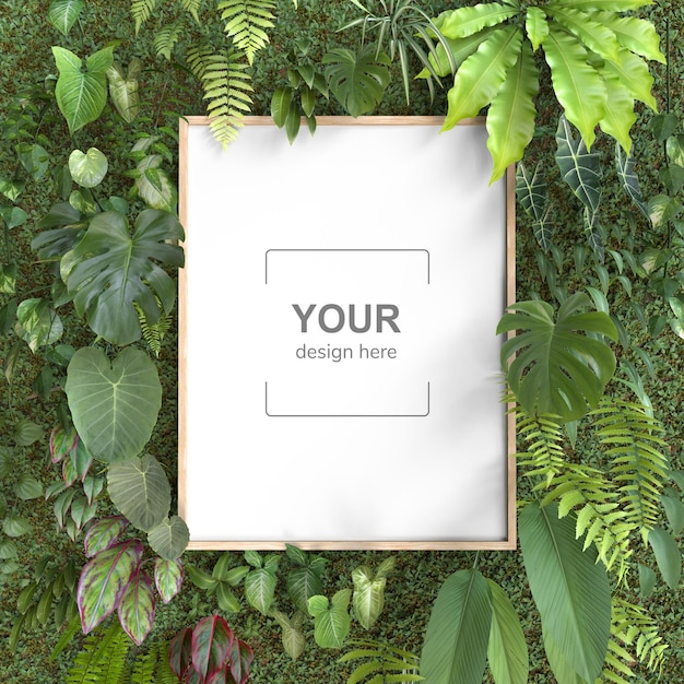 Quadro de maquete com jardim vertical Psd grátis
