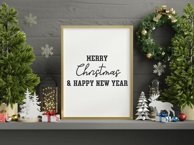 Quadro de maquete de natal, pôsteres de maquete na sala de estar, interior de natal. Psd Premium