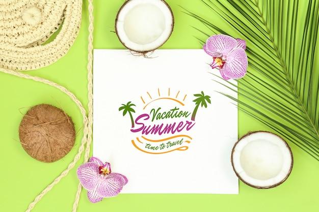 Quadro de maquete de verão sobre fundo verde Psd Premium