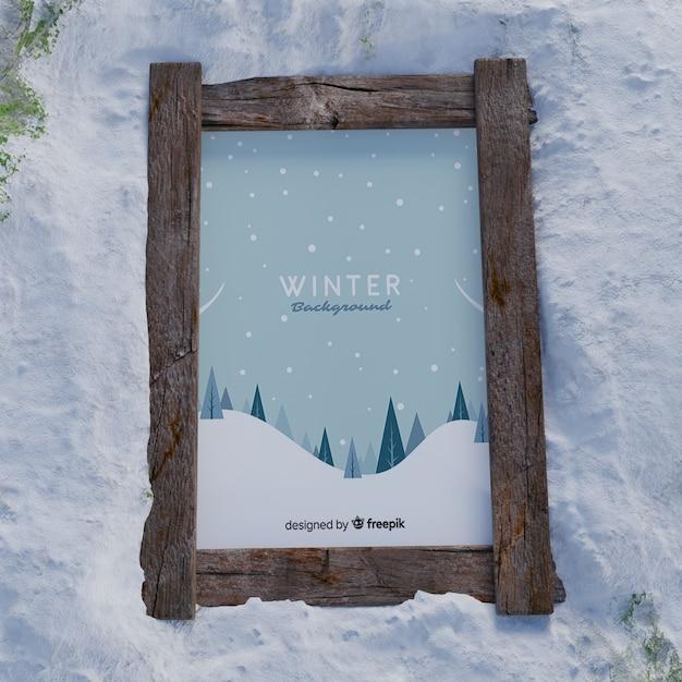 Quadro de mock-up com foto de inverno Psd grátis