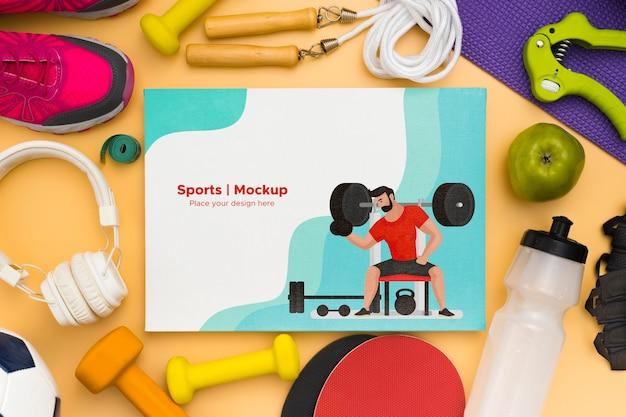 Quadro de mock-up de equipamento desportivo Psd grátis