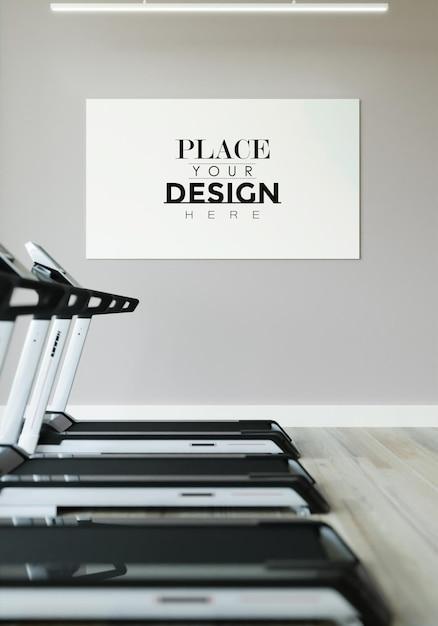 Quadro de pôster em maquete de ginásio de fitness Psd grátis