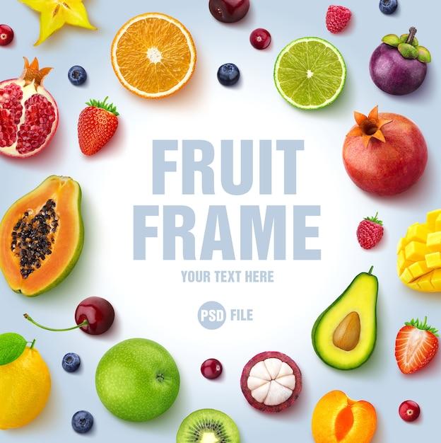 Quadro feito de frutas e bagas, isoladas no fundo branco Psd Premium