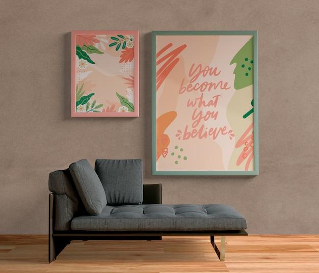 Quadros de pintura minimalista pendurado na parede Psd grátis