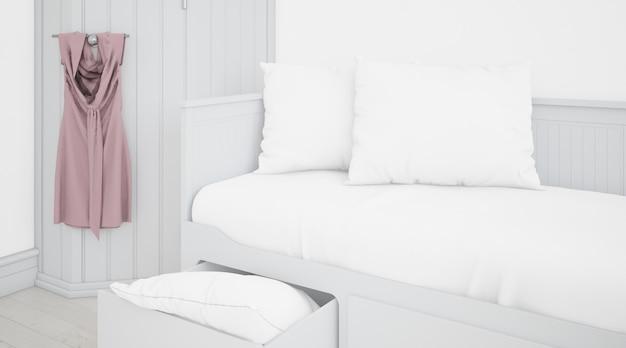 Quarto branco realista com móveis Psd grátis